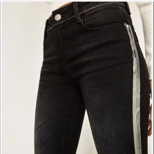 Zara | Metallic Silver Striped Black Jeans Hi-Rise